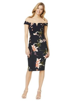 AX Paris Orchid Print Bardot Dress Navy Multi 14