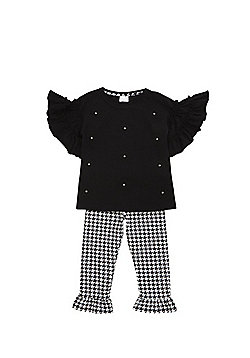 F&F Flower Applique T-Shirt and Leggings Set - Black