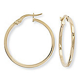 Ladies 9ct Gold Square Tube Round Hoop Earrings - 25mm