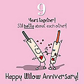 9th Wedding Anniversary Greetings Card - Willow Anniversary
