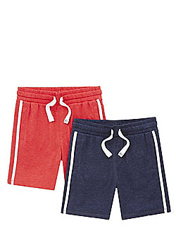 F&F 2 Pack of Contrast Stripe Jersey Shorts - Multi