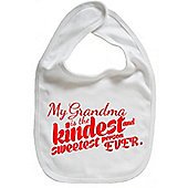 Dirty Fingers My Grandma is the Kindest Baby Bib White