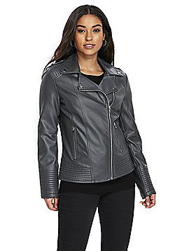 Wallis Curve Seam Faux Leather Biker Jacket - Grey