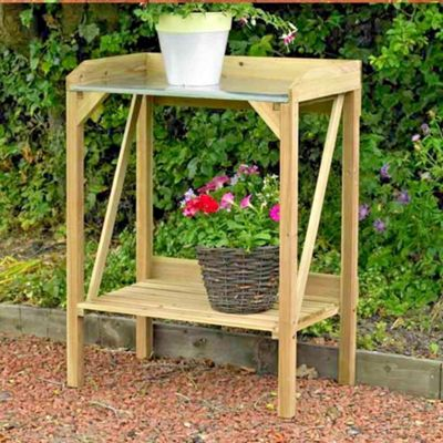 Kingfisher Wooden Potting Table Garden Bench Greenhouse Plant Shelf Work Station