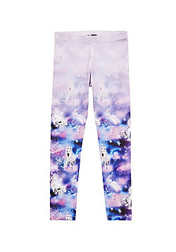 F&F Active Unicorn Print Leggings - Lilac