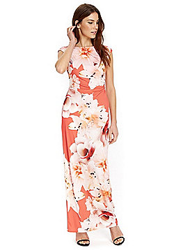 Wallis Floral Print Maxi Dress - Coral