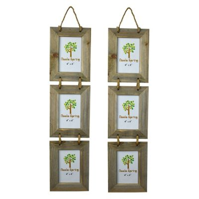 Nicola Spring Triple Wooden 3 Photo Hanging Picture Frame - 4 x 6