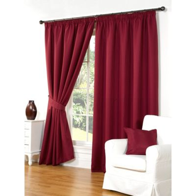 Hamilton McBride Waffle Red Lined Pencil Pleat Curtains - 46x54 Inches (117x137cm)