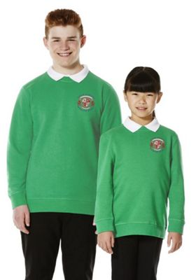 Unisex Embroidered Cotton Blend School Sweatshirt with As New Technology 5-6 years Emerald green