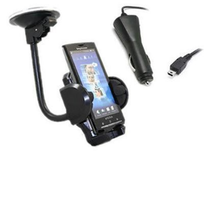 iTALKonline 14939 In Car Universal Suction Mount Holder and Car Charger - For Sony Ericsson X10 Xperia