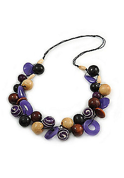 Chunky Cluster Wood, Resin Bead Black Cotton Cord Necklace - 80cm L/ 180g