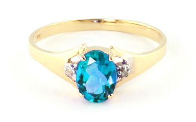 QP Jewellers Diamond & Blue Topaz Oval Desire Ring in 14K Gold - Size C
