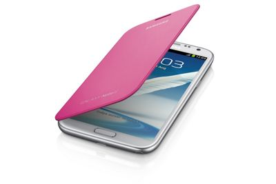 Samsung Original Clip-On-Replacement Battery Cover with Leather Feel Flip Case Galaxy Note 2/II - Pink