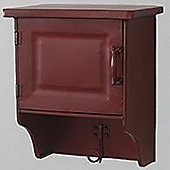 Butler - Wooden Wall Storage Cabinet With Hanging Hook - Mahogany