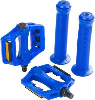 Zombie BMX Pedals & Handlebar Grips Bike Set Blue