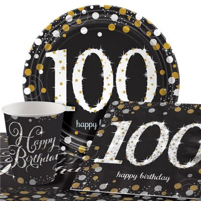 Sparkling Celebration 100th Birthday Party Pack - Value Pack For 8