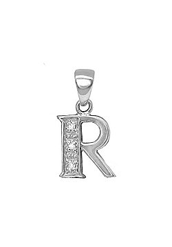 Jewelco London 9 Carat White Gold Elegant 1.5pts Diamond-Set Initial Pendant - Initial R