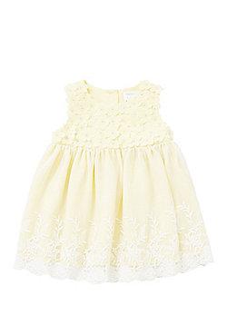 F&F Embroidered Mesh Overlay Smock Dress - Yellow