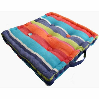 Homescapes Cotton Multicoloured Stripe Floor Cushion, 40 x 40 cm