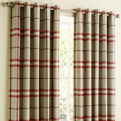 Homescapes Red Tartan Check Lined Eyelet Curtain Pair 66x72