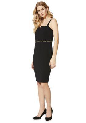 F&F Eyelet Detail Strappy Bodycon Dress Black 10