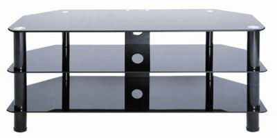 LEVV Glass TV Stand - Black Gloss / Black