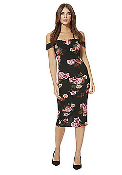 AX Paris Floral Print Bardot Dress - Black Multi