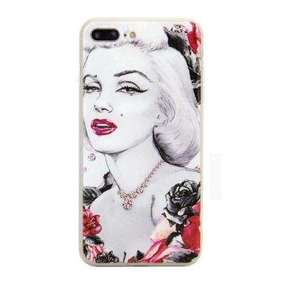 iPhone 7 Plus Marilyn Monroe Illistration Phone Case - Red / Grey