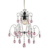 Modern Chandelier Pendant Shade with Pink Acrylic Drops and Clear Frame