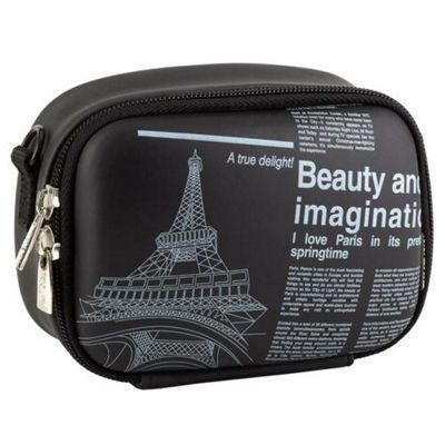 RIVACASE Riva 7081 PU Video Camera Case, Black/Newspaper