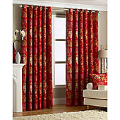 Riva Home Berkshire Eyelet Curtains - Red