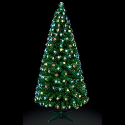 premier 4ft fibre optic christmas tree with colour changing roses