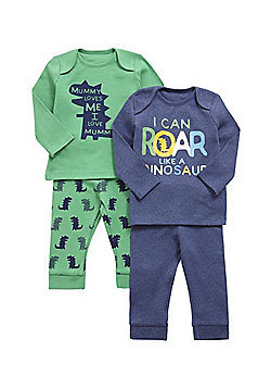 F&F 2 Pack of Dinosaur Print Pyjamas - Green & Navy