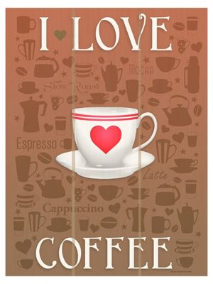 I Love Coffee Wooden Wall Art 30x40cm,