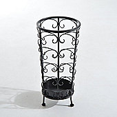 Homcom Antique Metal Round Umbrella Stand Floral Design Vintage Holder Rack (Black)
