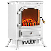 VonHaus 1850W Max Portable Pale Stone Grey Electric Stove Heater Fire Place / Fireplace - Log Burning Flame Effect (Pale Stone Grey)