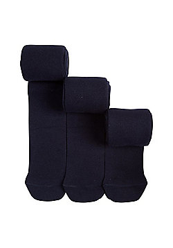 F&F 3 Pack of Super Soft Knitted Tights - Navy