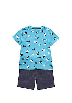 F&F Googly Eye Print T-Shirt and Jersey Shorts Set - Blue