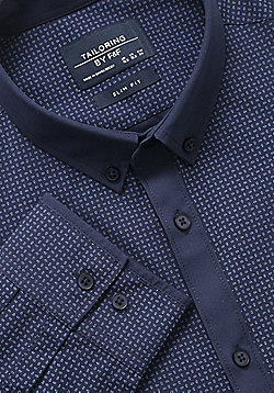 F&F Printed Easy Care Slim Fit Shirt - Navy