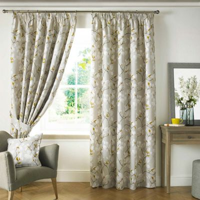 Homescapes Ashley Wilde Yellow 'Anita' Floral Curtains Lined Pencil Pleat, 46x54