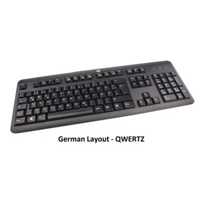 HP KB-1156 USB Keyboard with 104 Keys, Integrated Spill-Drain - German Layout - 672646-043-GR