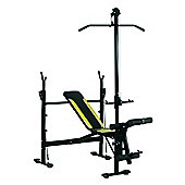 Homcom Adjustable Multi Gym Chest Leg Arm Weight Bench w/ Lat Attachment - Black / Green