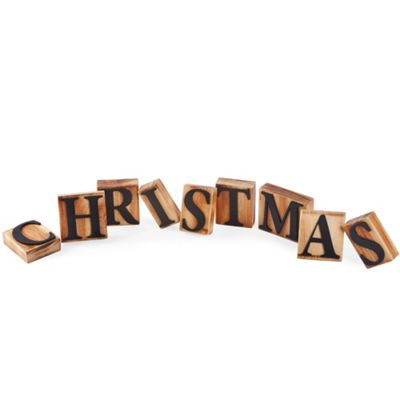 Printing Letter 'Christmas' Block Display in Wood