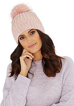 F&F Ribbed Knit Faux Fur Bobble Hat - Pink