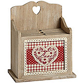 Wood Love Heart 4 Photo Storage Albums With Box - Red