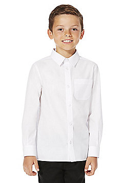 F&F School 2 Pack of Boys Easy Iron Plus Fit Long Sleeve Shirts - White