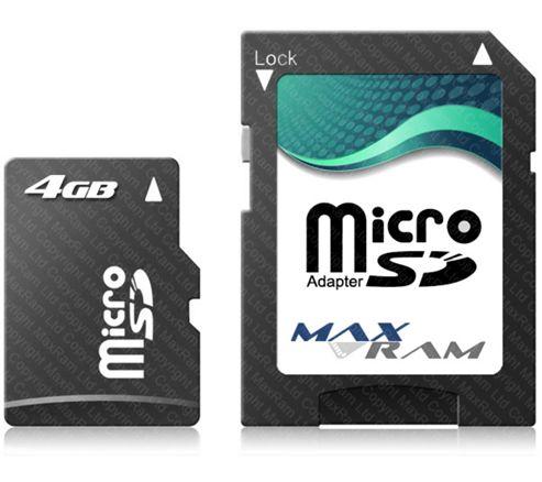 Maxram 4 GB Micro SDHC Memory - MRMICROSD_4GB (Class 4).