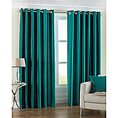 Riva Home Fiji Faux Silk Eyelet Curtains - Teal