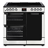 New World Vision 900ESS 900mm Electric Range Cooker, 5-Zone Ceramic Hob, Stainless Steel