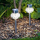 Set of 2 Warm White LED Solar Garden Stake Lights